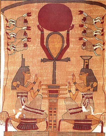Ré isten napkorongja az égbe emeltetik egy ankh-jel és egy dzsed-oszlop segítségével, miközben Ízisz, Nephthüsz és a páviánok imádják. A motívum az újjászületést és a napfelkeltét jelképezi.