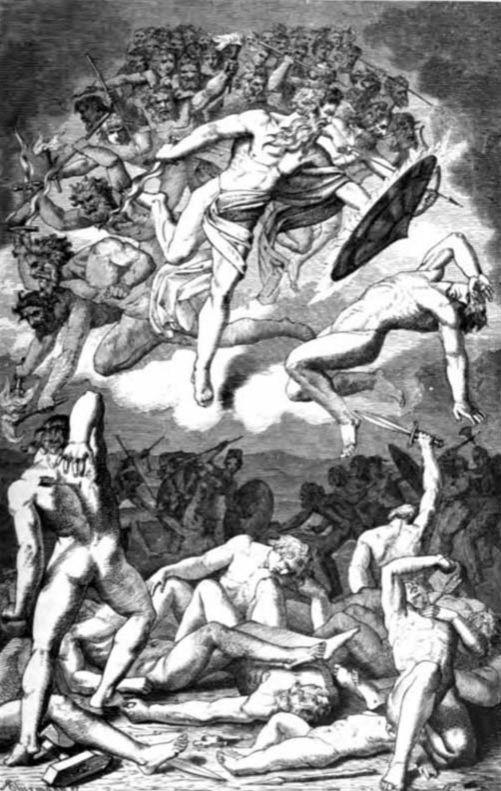 """""""AEsir bukása"""". A menny megnyílik és """"Múspell Fiai"""" átgázolnak Aesir-en Ragnarö-nél. A viking apokaliptikus csata, Ragnarok."""