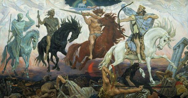 1887-ben készült Viktor Vasnetsov képe, az Apokalipszis négy lovasa