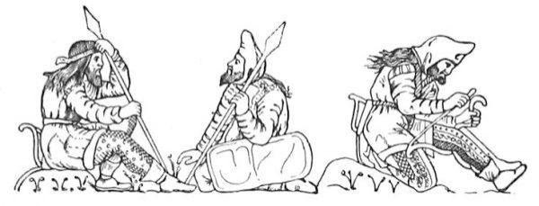 Szkíta harcosok a Kerck közeli Kul-Oba kurgánból származó elektrumból készült kupa alakjai után rajzolva. A jobb oldali harcos felhúrozza az íját oly módon, hogy azt a térde mögé fogja be; vegyük észre a jellegzetes csúcsos kámzsát, a szélein díszített prémből vagy gyapjúból készült hosszú kabátot, a díszes nadrágot, valamint a bokánál megkötött rövid csizmát. Úgy tűnik, hogy szkíták általában hosszú, kibontott hajat viseltek és minden felnőtt férfinek volt szakálla. Az íjtartó egyértelműen megmutatkozik a fedetlen fejű lándzsás csípőjének bal oldalán; a társának pedig olyan érdekes pajzsa van, amit talán egy fából vagy fűzfából készült alapra húzott sima bőr tok fed be. (Hermitage Museum, St Petersburg)