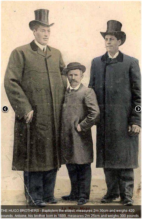 A Hugó-fivérek: Baptistem, a legidősebb 2 méter 30 centi volt és 190,5 kilót nyomott. Antoine, az 1889-ben született öccse, elérte a 2 méter 25 centit, és 136 kilót nyomott. Photo credits: www.genesis6giants.com