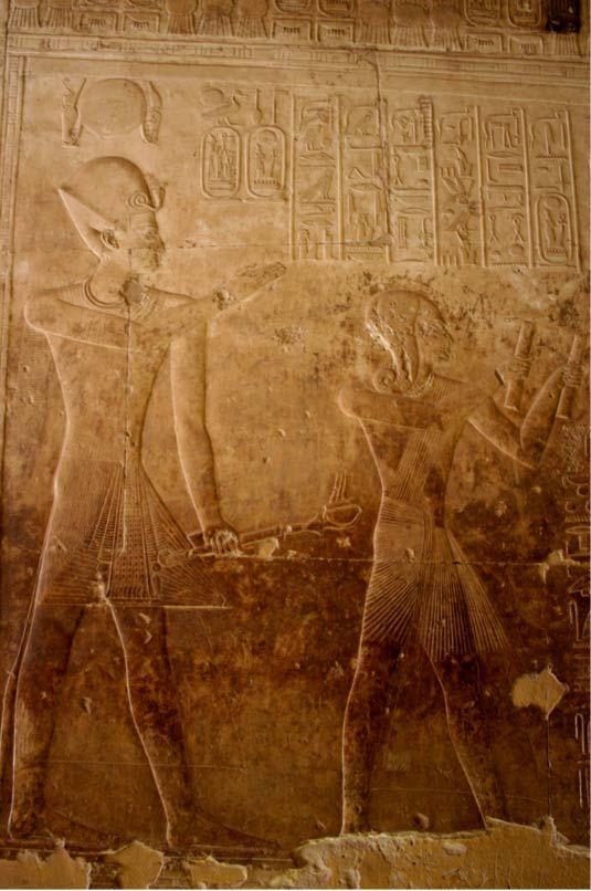 I. Széthi és II. Ramszesz egy Abüdoszban található féldomborművön tűnik fel. E két férfiú domborműgyűjteményét megtalálták a legutóbbi Tharu környékén végzett ásatások során. (Wikimedia Commons photo by Kurohito)