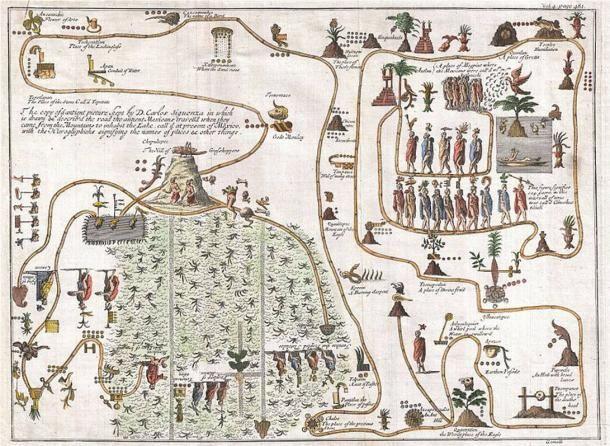 Ez a szokatlan 1704-es térkép, amit rajzolt, az elsőként megjelent ábrázolása az Aztlanból történő legendás azték vándorlásnak. Aztlan egy legendás paradicsomi hely volt Mexikó északnyugati vidékén, a Chapultepec hegyen, ahol jelenleg Mexikóváros található. Public Domain