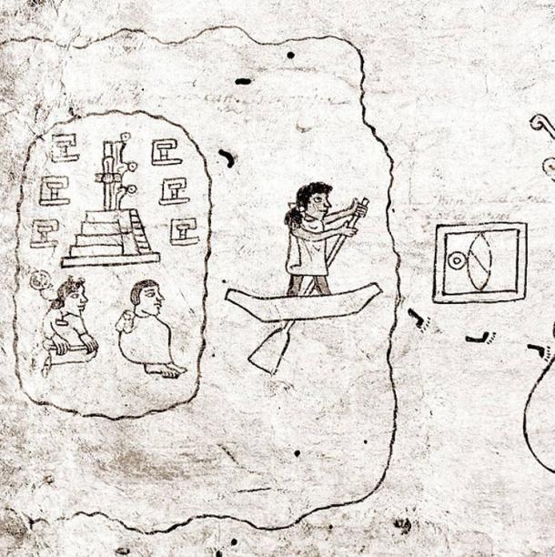 A mexikóiak útra kelnek Aztlánból. A 16. századból való Boturini Kódexből való a kép és ismeretlen a készítője. Public Domain