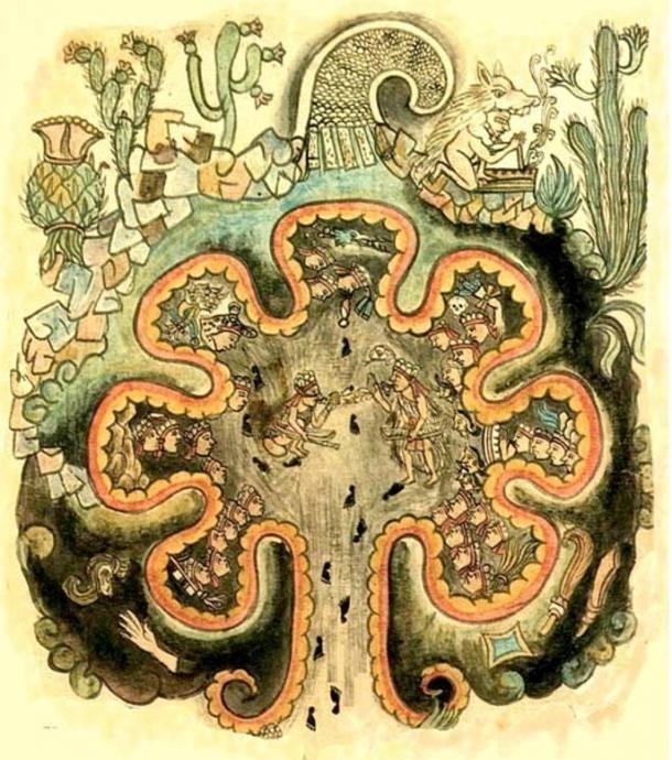 """Chicimiztic, vagyis a hét barlang helye. A """"nahuatlaca törzsek"""" mitikus forrása. A """"Historia Tolteca chicimeca""""-ból. Egy Cortez utáni 1550-ből származó kódex. Public Domain"""