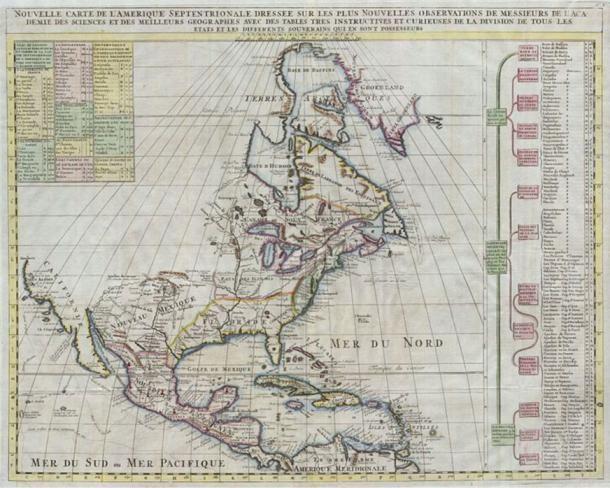 """Henry Chatelain által kiadott térkép Észak-Amerikáról a jelentékeny Történeti Atlasz 1720-as kiadása számára. Ez hivatkozásokat tartalmaz Quivra-ra (Quivira) vonatkozólag a Mississippitől nyugatra, és az Új-Mexikóban található Cibolára. Mindkettő város az """"Arany Hét Városa"""" közé tartozik, melyeket a korai spanyol felfedezők Észak-Amerikában kerestek. (Wikimedia Commons)"""