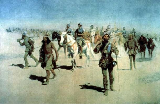 Frederic Remington egyik festménye Francisco Vázquez de Coronado-ról és seregéről, amint Cibola felé tartanak. (Wikimedia Commons)