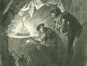 Featured image: Homunculus in the Vial. Illustration of Johann Wolfgang von Goethe, Faust. Part Two, Act II, laboratory, 1899 (public domain)