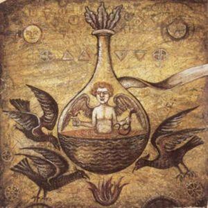 Egy homunculus alkímiai illusztrációja egy fiolában. Forrás: (new-moster.wikia.com)