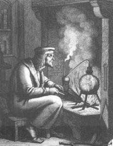 Goethe Faustja és egy homunculus egy 19. századi karcolaton. (public domain)
