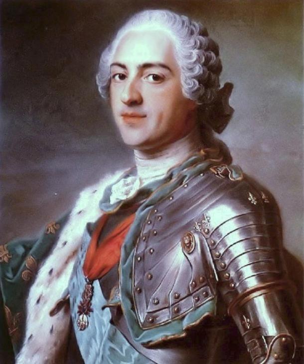 A francia XV. Lajos teljes mértékben megbízott Saint-Germain-ben. A festményt Maurice Quentin de La Tour készítette 1748-ban. (en.wikipedia.com)