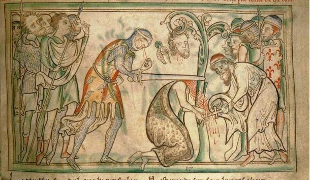 Szent Albán vértanúsága egy 13. századi kéziratból. Jelenleg a dublini Szentháromság College Könyvtárában található. (Wikimedia Commons)