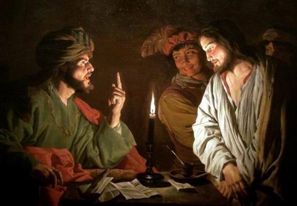 Balra Kajafás József, a főpap és Jézus. A kép 1630 körül készült. Public Domain