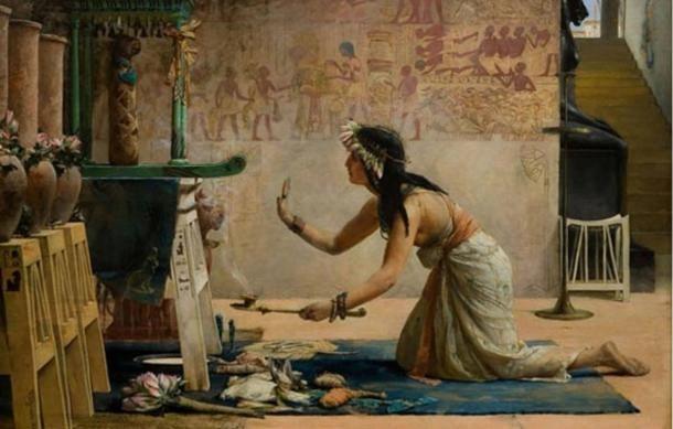 Egy szertartást végző papnő. Egy egyiptomi macska gyászszertartása. John Reinhard Weguelin.WikimediaCommons