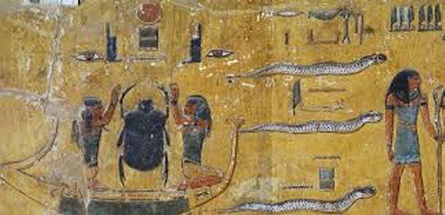 Egy jelenet a Nitentore-i Hathor templomban lévő Szókár-Ozirisz kápolnából.