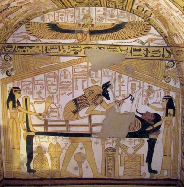 A 335-ös thébai sírban ábrázolt szájmegnyitási rítusa Wikimedia Commons)