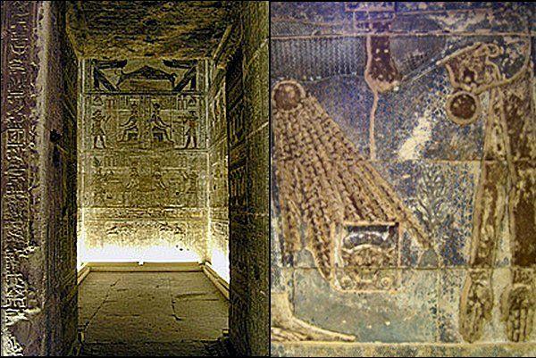 A denderai templom egyik gyönyörűséges mennyezete, amely Nut égistennő hatalmas alakját örökíti meg, aki annak a Napnak a születési körét mutatja, amelynek a sugarai Hathorra ragyognak le.