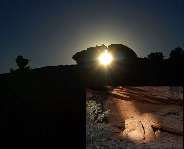 Nyári beállított napforduló egy anaszázi indián sziklaszentélyben. Credit: J Krebhiel