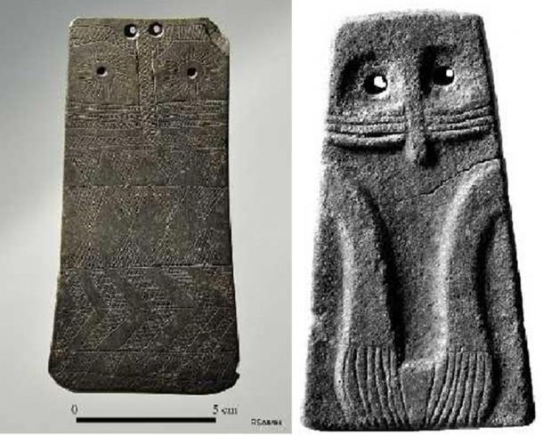 A megalit sírok némelyike festményekkel és dísztáblákkal díszített. Ez a két antropomorfikus kőtábla jelenleg portugál múzeumokban található. (Photo by Henna Lindström)
