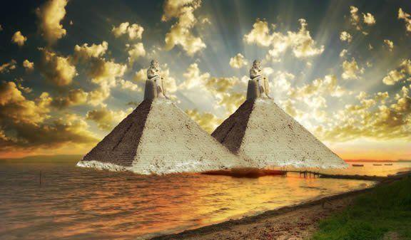 Művészi koncepció a Hérodotosz által leírt piramisokról