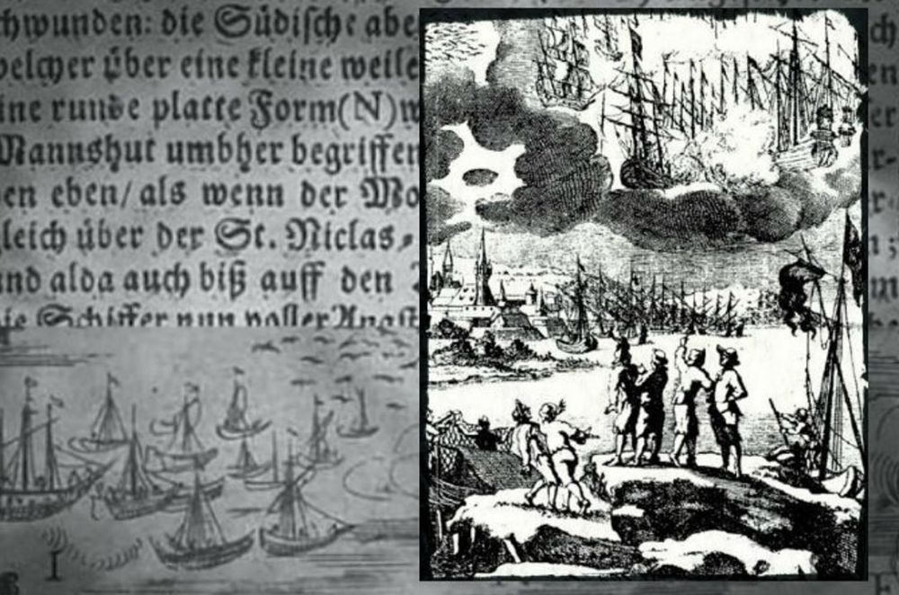 """Featured image: Right: A 1680 engraving accompanying a description by Erasmus Francisci of a battle between ships in the sky said to take place in 1665. Background: Text and an image from """"An Illustrated Description of the Miraculous Stralsund Air-wars and Ship-battles), 1665."""