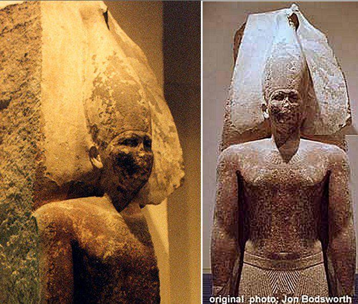 Balra: Sznofru mészkő szobra, Egyiptomi Múzeum Jobbra: Sznofru