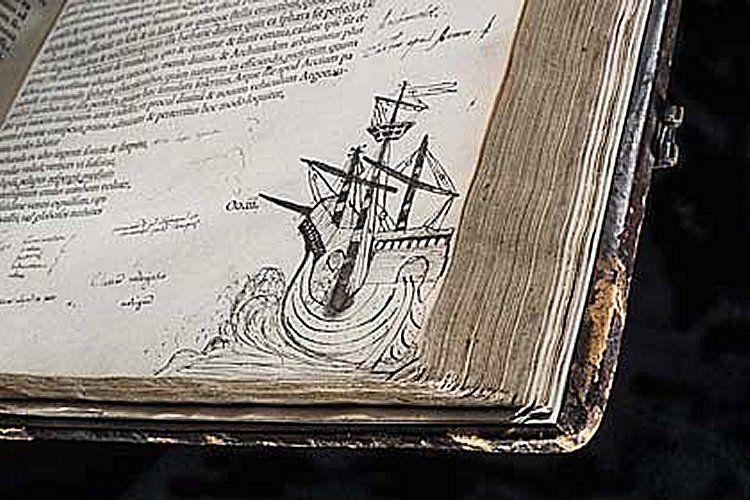 John Dee magánkönyvtárából való, Cicero, Opera, Omnia 2. kötet, egy hajóábrázolással © RCP and John Chase