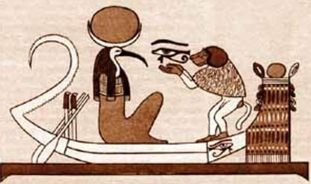 Az íbiszfejű Thot és a pávián főemlős illusztrációja a hajóban. ( Public Domain )