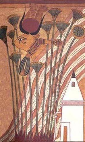 Hathor tehénként ábrázolva, amint nyakláncot visel és szent szemét mutatja – Ani papirusza.
