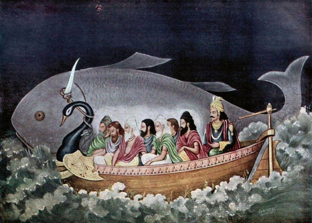 Matsya protecting Svayambhuva Manu and the seven sages at the time of Deluge (Wikimedia Commons)