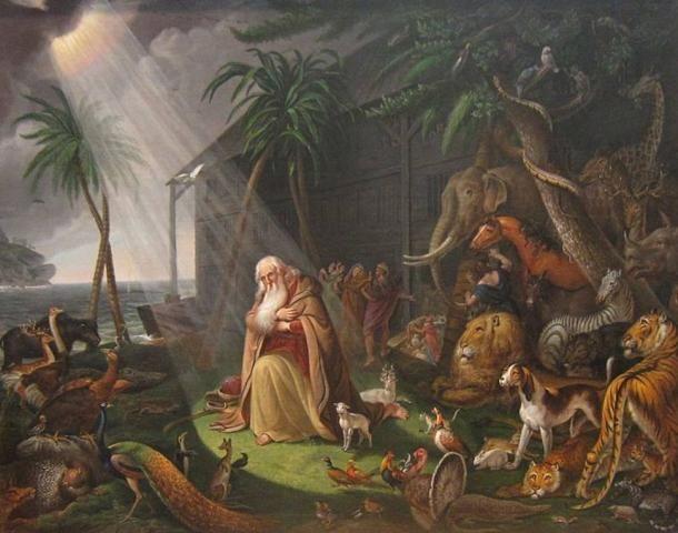 Mind Noét, mind Manut erényes emberként írták le. A képen Noé és bárkája látható, Charles Wilson Peale műve, 1819 (Wikimedia Commons)