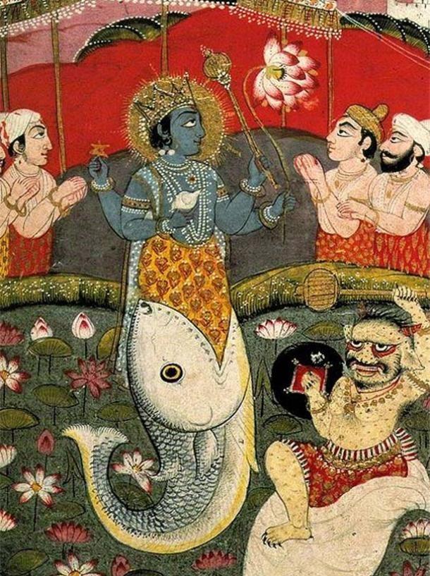 Vishnu hal alakjában, egy vallásos szövegben. (Wikimedia Commons)