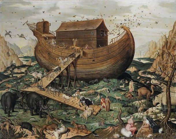 Noé bárkája az Ararat hegyén, de Myle, 1570 AD. (Wikimedia Commons)
